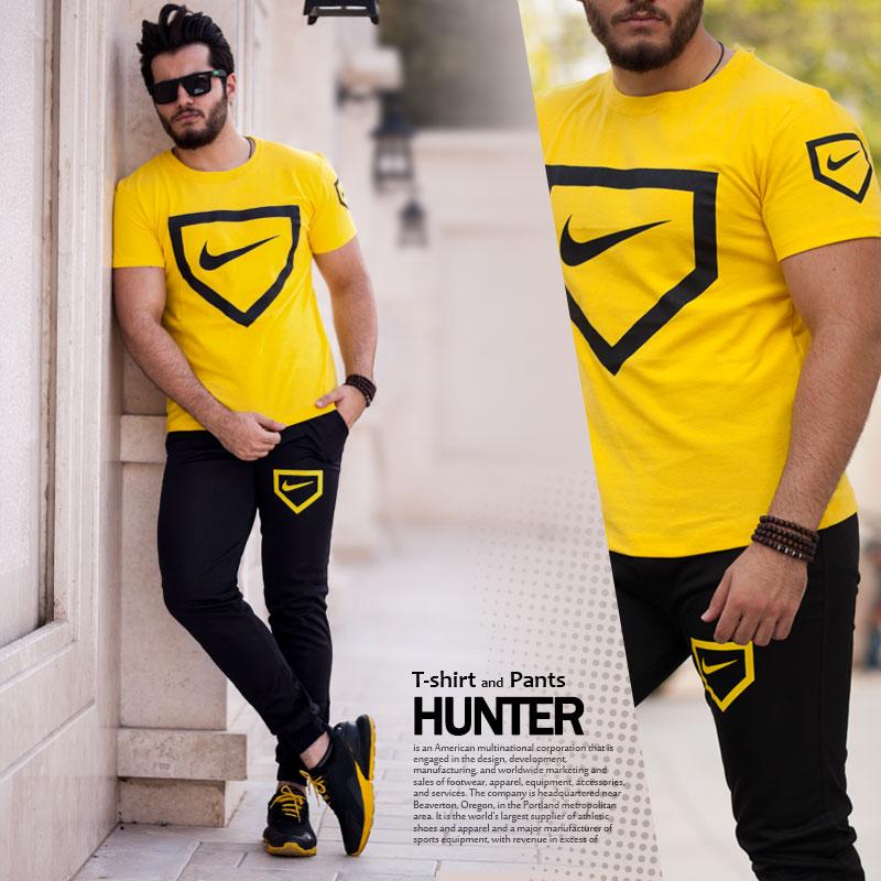 ست تیشرت و شلوار Nike مدل Hunter(زرد)