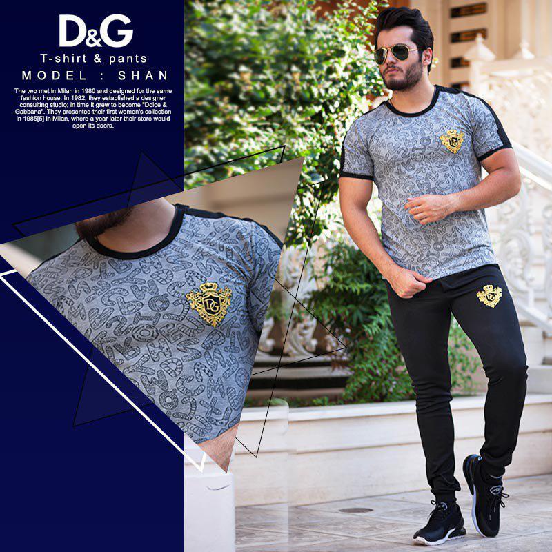 ست تیشرت وشلوار مردانه D&G مدل shan