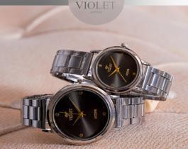 ست ساعت مچی مردانه و زنانه Violet مدل Lara (بند فلزی نقره ای)