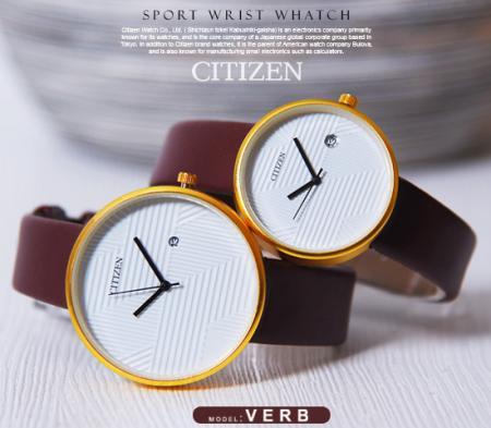 ست ساعت مچی مردانه و زنانه Citizen مدل Verb (بند قهوه ای) -