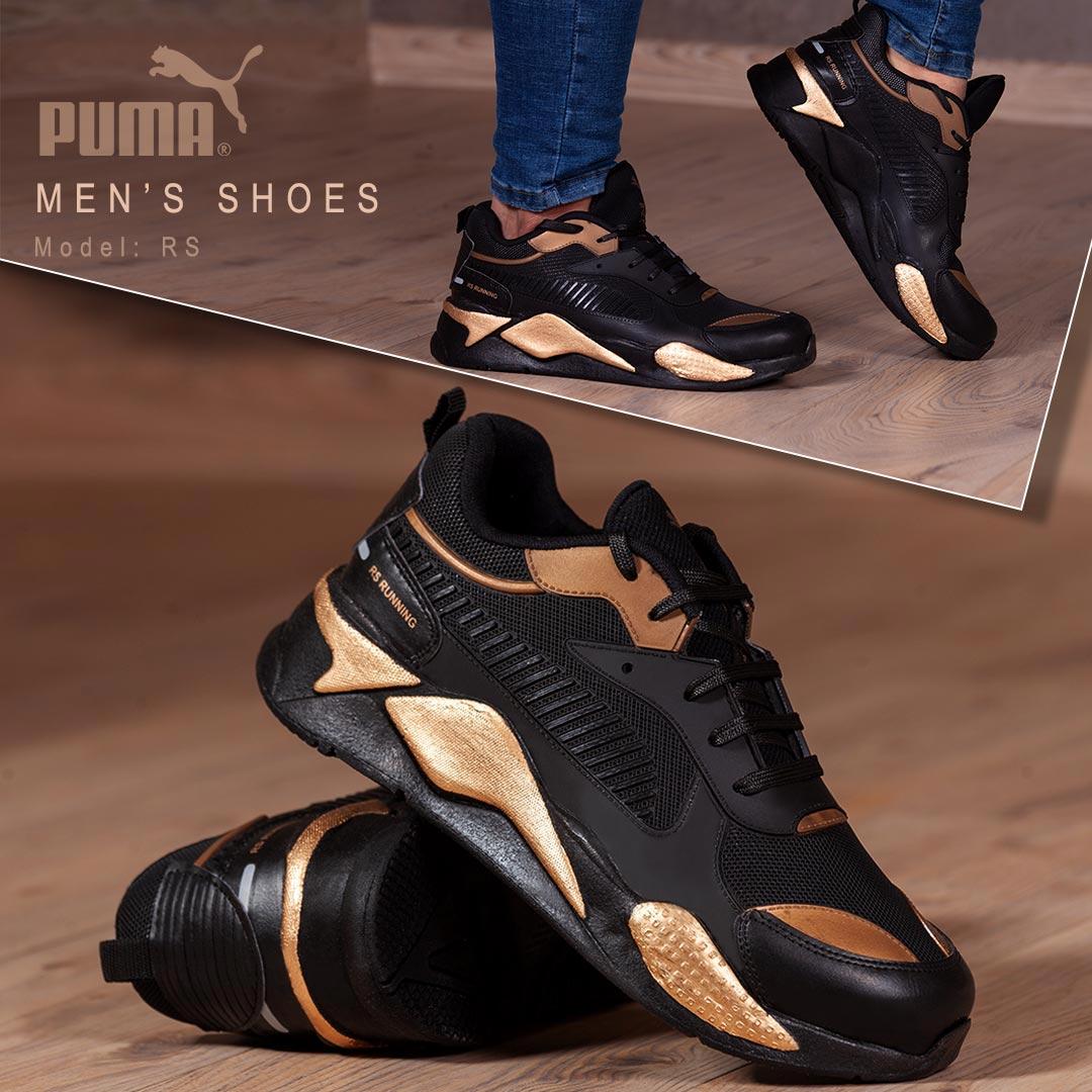 کفش مردانه Puma مدل Rs(مشکی طلایی)