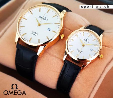 ست ساعت زنانه و مردانه Omega مدل Exel (بندمشکی) -