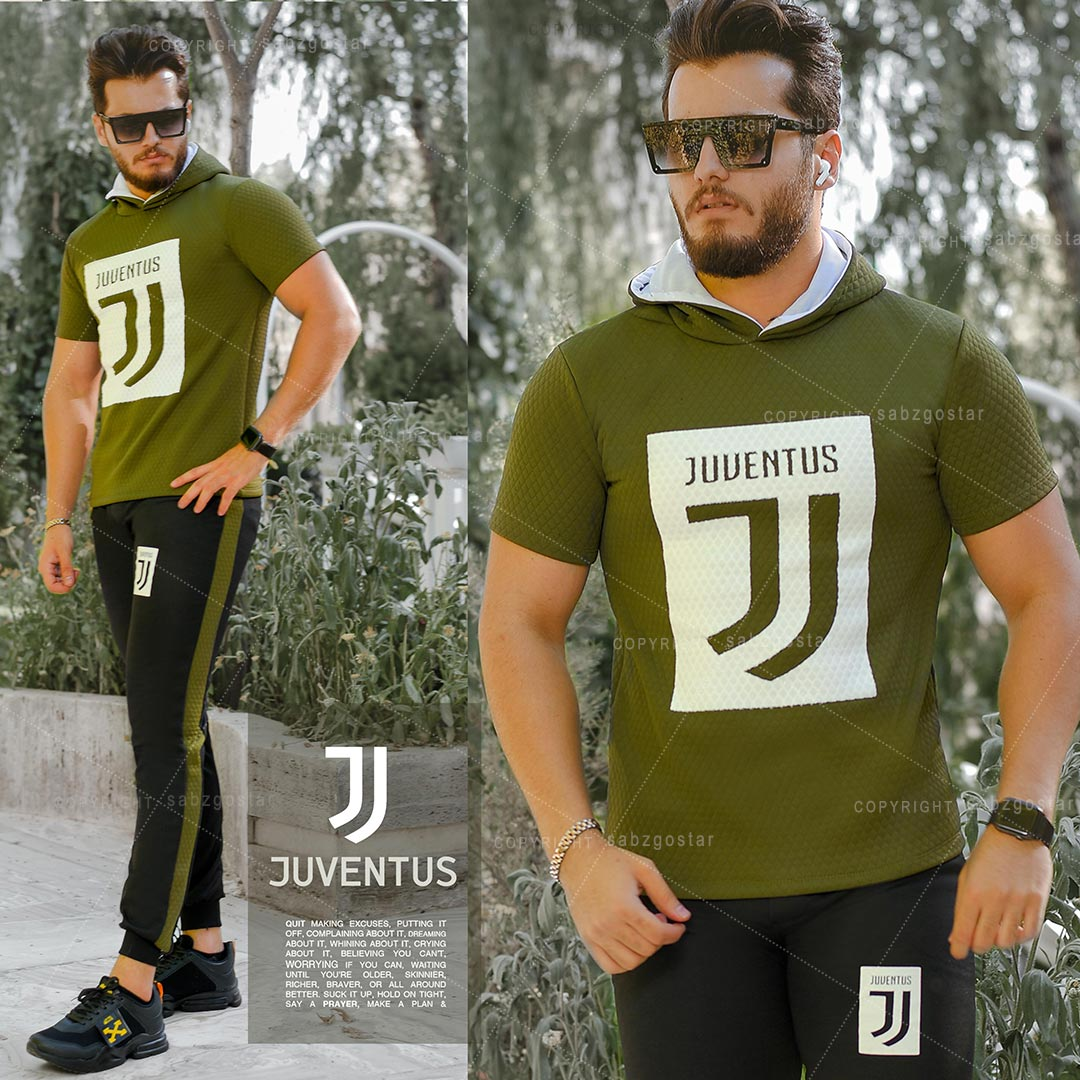 ست تیشرت کلاه دار و شلوار Juventus مدل Joshua (سبز)