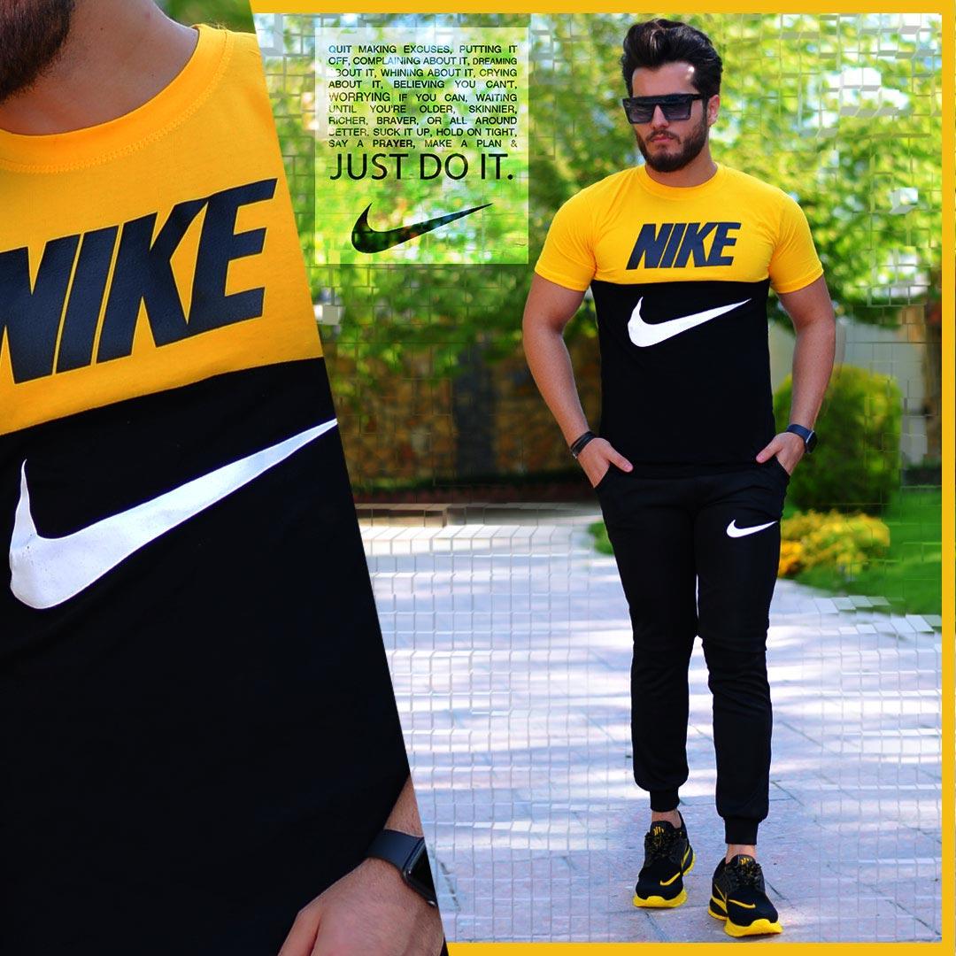 ست تیشرت وشلوار Nike مدل Halako (زرد)