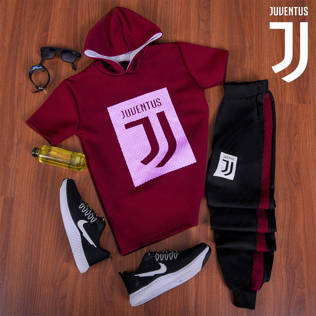 ست تیشرت کلاه دار و شلوار Juventus مدل Vargas (زرشکی)