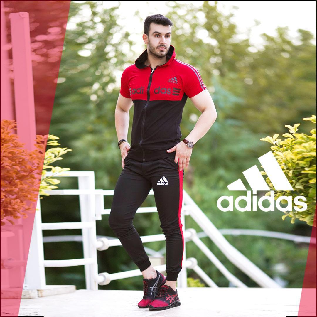 ست تیشرت و شلوار زیپ دار Adidas مدل Kaliz (قرمز)