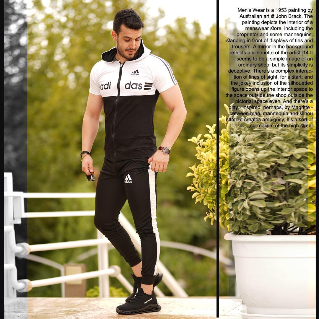 ست تیشرت و شلوار زیپ دار Adidas مدل Kaliz (سفید)