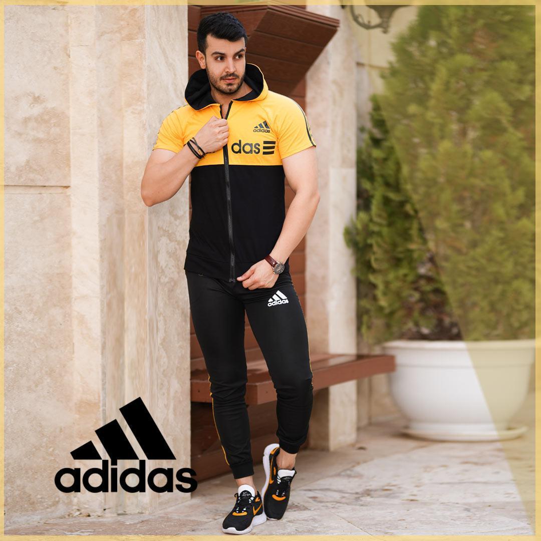 ست تیشرت وشلوار زیپ دار Adidas مدل Kaliz (زرد)
