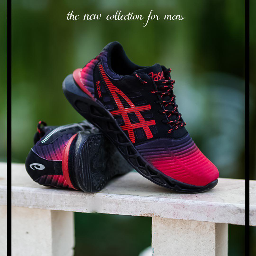 کفش مردانه Asics مدل Fuzex (مشکی،قرمز)