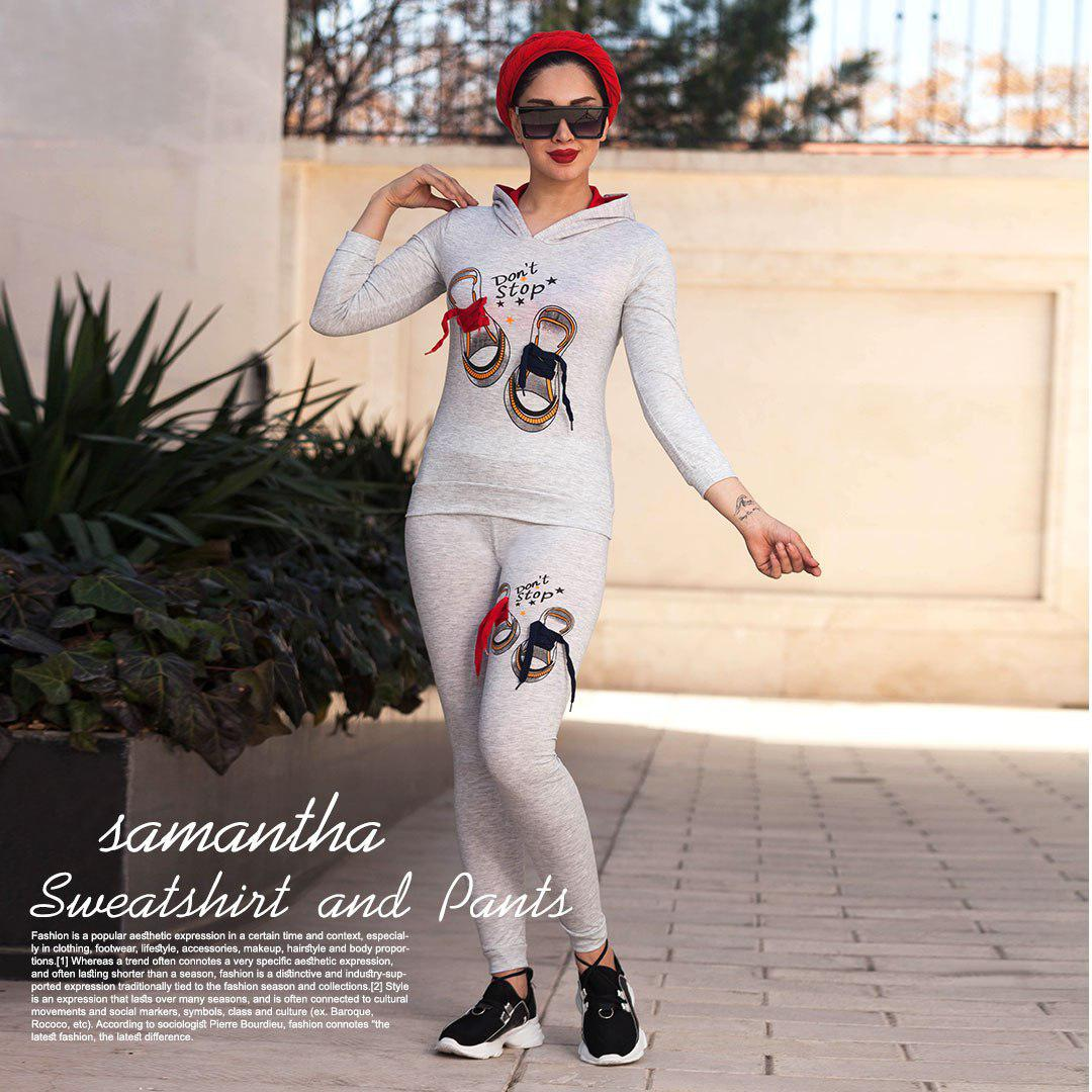 سویشرت وشلوار دخترانه مدل Samantha(روشن)