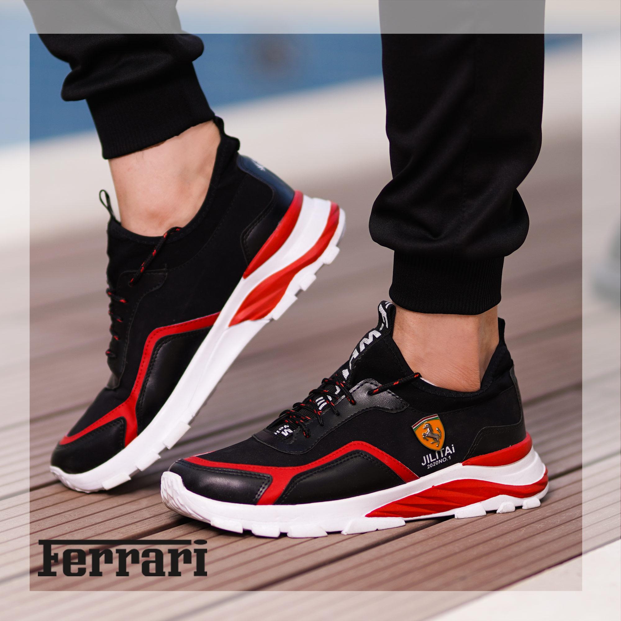 کفش مردانه Ferrari مدل JILITAi(مشکی و قرمز)