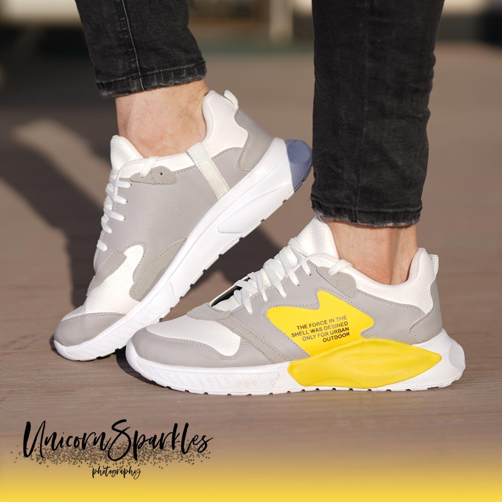 کفش مردانه shel (طوسی زرد)