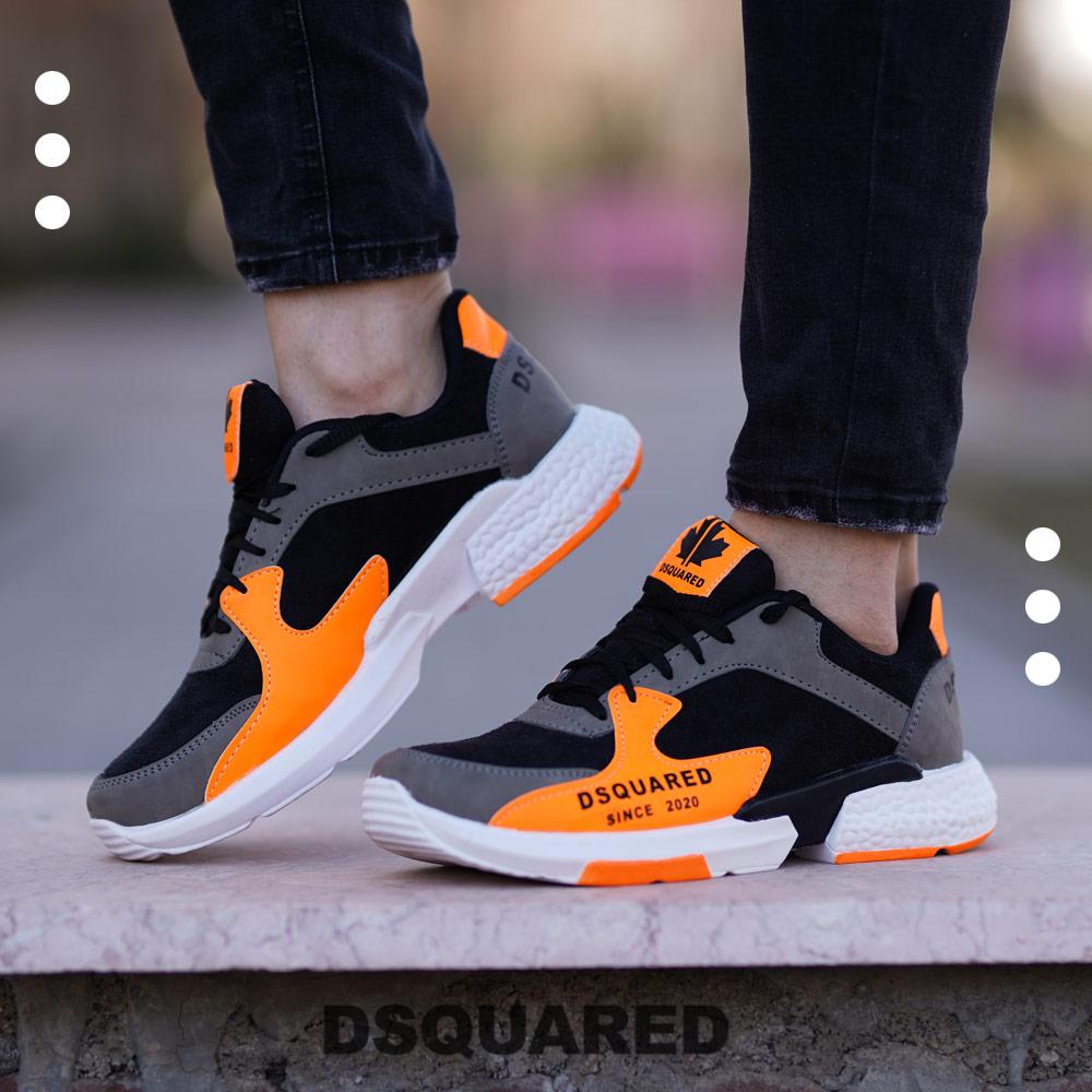 عکس محصول کفش مردانه مدل DSQ(مشکی نارنجی)