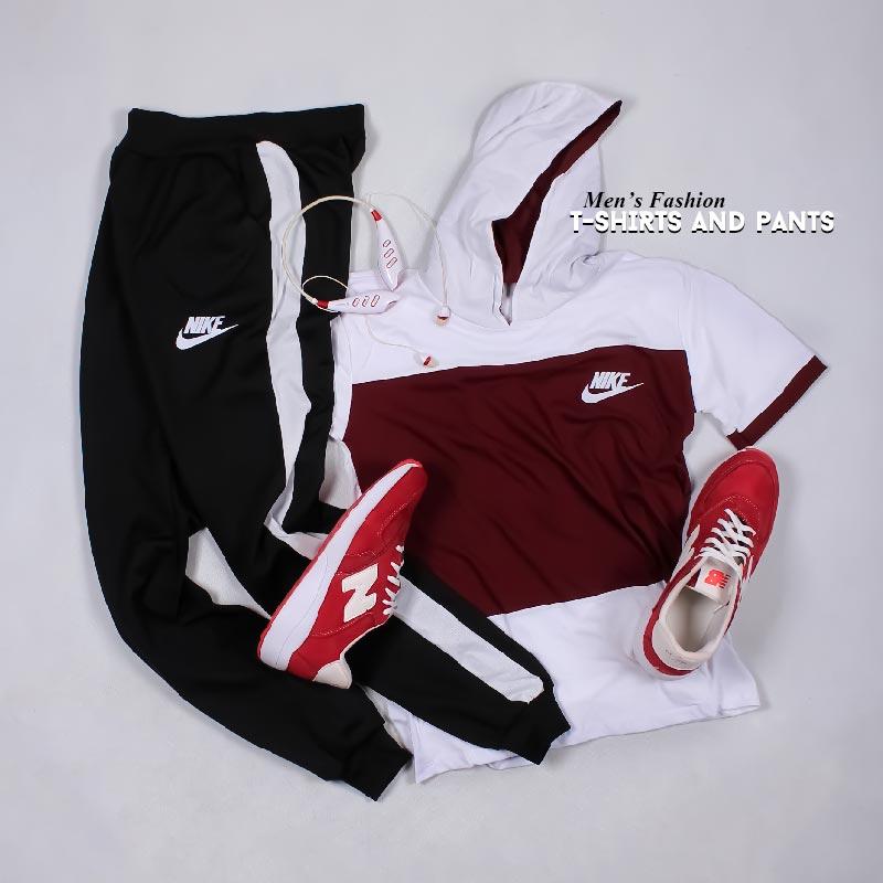 ست تیشرت کلاه دار و شلوار Nike مدل  Janson