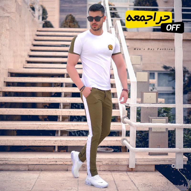 ست تیشرت و شلوار مردانه مدلDarkub (سفید)